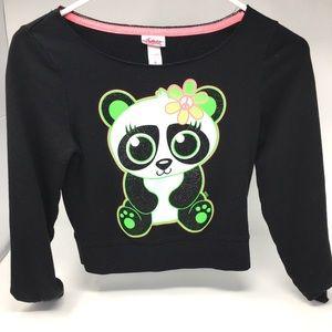 Justice Black/White Shimmer Panda Long Sleeve Top